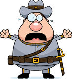 Scared Cartoon Confederate Soldier Royalty Free Stock Photography