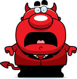 Scared Cartoon Devil. A cartoon illustration of a devil looking scared Stock Images
