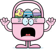 Scared Cartoon Easter Basket Royalty Free Stock Images