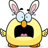 Scared Cartoon Easter Bunny Chick Stock Image