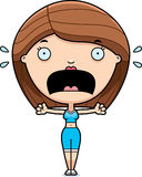 Scared Cartoon Fitness Woman Royalty Free Stock Images
