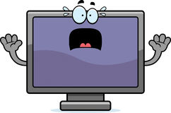Scared Cartoon Flat Screen TV. A cartoon illustration of a flat screen television looking scared stock illustration