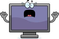 Scared Cartoon Flat Screen TV Stock Photography