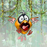 Scared cartoon funny bird with open beak. Scared cartoon funny yellow bird with open beak Stock Photo