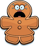 Scared Cartoon Gingerbread Woman Stock Photography