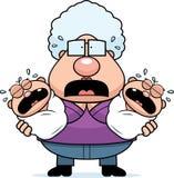 Scared Cartoon Grandma with Twins Stock Photos