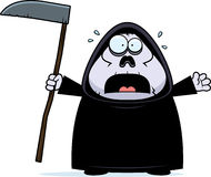 Scared Cartoon Grim Reaper Stock Photo