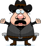 Scared Cartoon Gunfighter Royalty Free Stock Photo