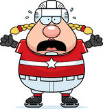 Scared Cartoon Hockey Player Royalty Free Stock Photo