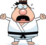 Scared Cartoon Karate Man Stock Photography