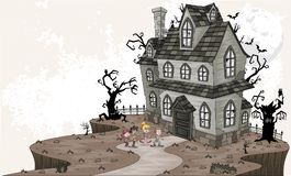 Scared cartoon kids in front of haunted house. Halloween background vector illustration
