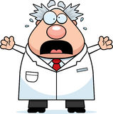 Scared Cartoon Mad Scientist Stock Image