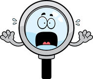 Scared Cartoon Magnifying Glass Royalty Free Stock Photography