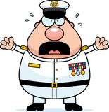 Scared Cartoon Navy Admiral Stock Photos