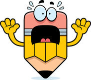 Scared Cartoon Pencil Stock Photo