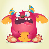 Scared cartoon pink monster. Vector character illustration. Gremlin or troll character. Stock Photography