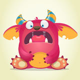 Scared cartoon pink monster. Vector character illustration. Gremlin or troll character. Royalty Free Stock Photos