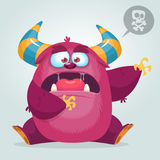 Scared cartoon pink monster waving. Vector cute monster mascot illustration for Halloween. Stock Photo