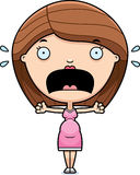Scared Cartoon Pregnant Woman Royalty Free Stock Images