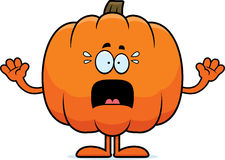 Scared Cartoon Pumpkin Stock Photo