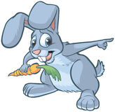 Scared Cartoon Rabbit Pointing Royalty Free Stock Images