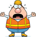 Scared Cartoon Road Worker Royalty Free Stock Photography