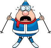 Scared Cartoon Skier Royalty Free Stock Images