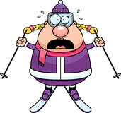 Scared Cartoon Skier. A cartoon illustration of a skiing woman looking scared Royalty Free Stock Photography