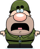Scared Cartoon Soldier Royalty Free Stock Photography