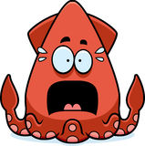 Scared Cartoon Squid Royalty Free Stock Photos