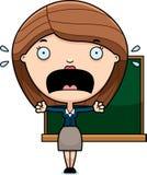 Scared Cartoon Teacher Royalty Free Stock Image