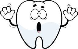 Scared Cartoon Tooth Royalty Free Stock Photography
