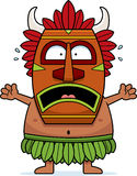 Scared Cartoon Witch Doctor. A cartoon illustration of a witch doctor looking scared Royalty Free Stock Images