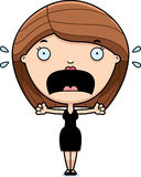 Scared Cartoon Woman Black Dress Royalty Free Stock Photos