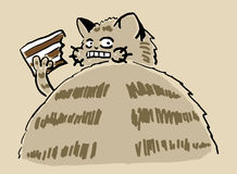 Scared cat with a piece of a cake Royalty Free Stock Photography