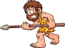 Scared caveman. Scared cartoon caveman. Vector clip art illustration with simple gradients. All in a single layer Stock Image