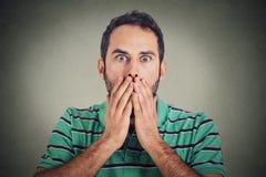 Scared chocó al hombre joven imagen de archivo libre de regalías
