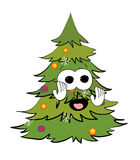 Scared christmas tree cartoon Royalty Free Stock Images
