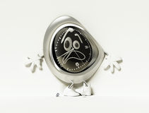Scared clock in shoes Stock Photos