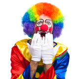 Scared clown isolated on white. Scared clown portrait on white background royalty free stock images