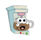 Scared Coffee maker cartoon Royalty Free Stock Photography