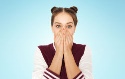 Scared or confused teenage girl Royalty Free Stock Image