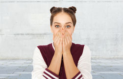 Scared or confused teenage girl Stock Images