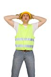 Scared construction worker Royalty Free Stock Photography