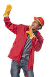 Scared construction worker stock photo