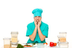 Scared cook man worried pose. isolated white Royalty Free Stock Photography