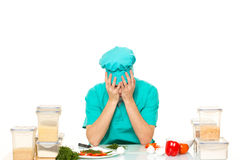 Scared cook man worried pose. isolated white Royalty Free Stock Photos