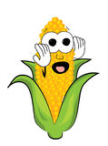 Scared corn cartoon Stock Photos