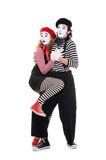 Scared couple of mimes. Portrait of scared couple of mimes. isolated on white royalty free stock photography