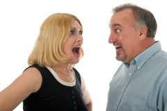 Scared Couple Screaming at Eac Royalty Free Stock Image